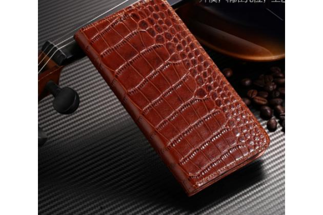 Роскошный эксклюзивный чехол с фактурной прошивкой рельефа кожи крокодила коричневый для acer liquid z330/ z330 duo/m330 . только в нашем магазине. количество ограничено