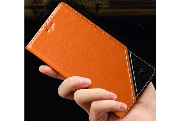 Чехол-книжка из натуральной кожи с прошивкой и подставкой для acer liquid z530 / z530 duo коричневый