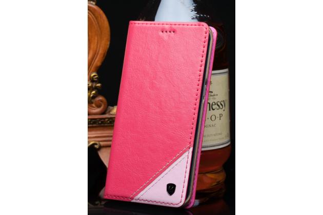 Чехол-книжка из натуральной кожи с прошивкой и подставкой для acer liquid z530 / z530 duo розовый