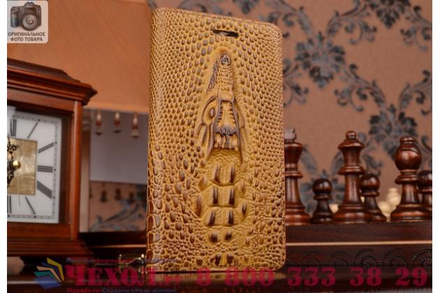 Роскошный эксклюзивный чехол с объёмным 3d изображением кожи крокодила коричневый для acer liquid z530 / z530 duo. только в нашем магазине. количество ограничено