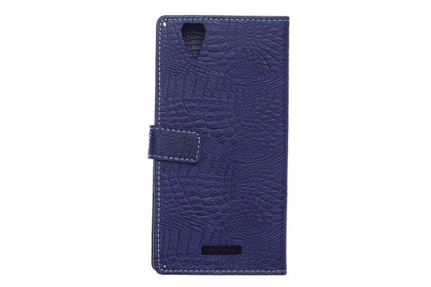 Чехол-книжка с подставкой для acer liquid z630 лаковая кожа крокодила цвет синий