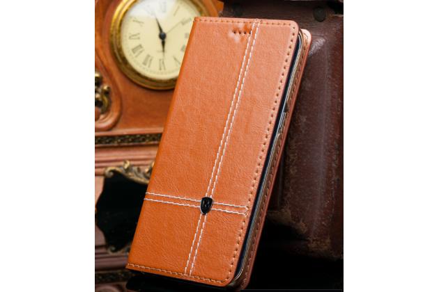 Чехол-книжка из натуральной кожи с прошивкой и подставкой для acer liquid z630 / z630 duo / z630s коричневый