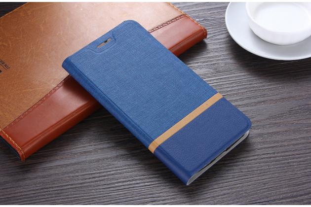 Чехол-книжка для для acer liquid z630 / z630s синий с золотой полосой водоотталкивающий