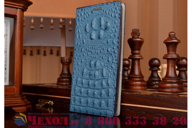 Роскошный эксклюзивный чехол с объёмным 3d изображением рельефа кожи крокодила синий для acer liquid z630 / z630 duo / z630s. только в нашем магазине. количество ограничено