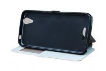 Чехол-книжка для acer liquid z630 / z630s черный с окошком для входящих вызовов водоотталкивающий
