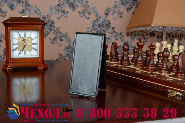"""Вертикальный откидной чехол-флип для acer liquid e700 черный из качественной импортной кожи """"prestige"""" италия"""