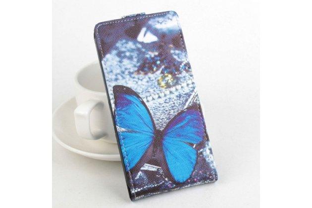 """Вертикальный откидной чехол-флип для acer liquid e700 """"тематика бабочка"""" кожаный"""