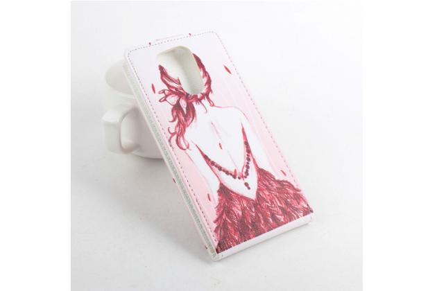 """Вертикальный откидной чехол-флип для acer liquid e700 """"тематика модная девушка"""" розовый кожаный"""