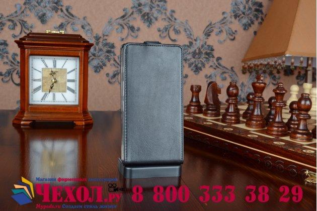 """Вертикальный откидной чехол-флип для acer liquid x1 черный из качественной импортной кожи """"prestige"""" италия"""