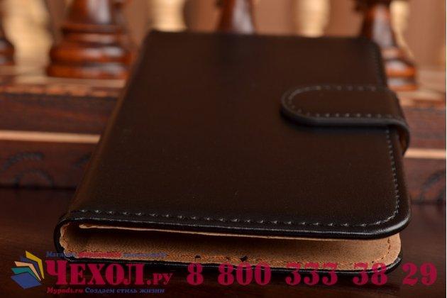 Чехол-книжка из кожи с мульти-подставкой и застёжкой для acer liquid z410 duo черный