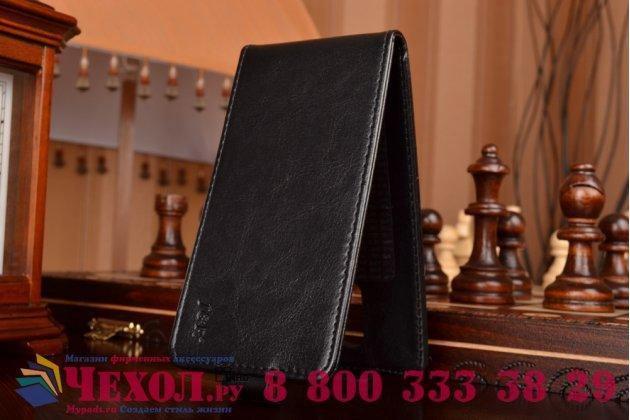 """Вертикальный откидной чехол-флип для acer liquid z410 черный кожаный """"prestige"""" италия"""
