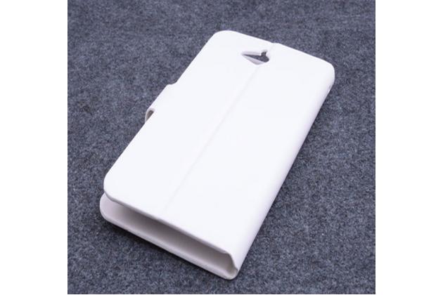 Чехол-книжка из кожи с мульти-подставкой и застёжкой для acer liquid z410 duo белый
