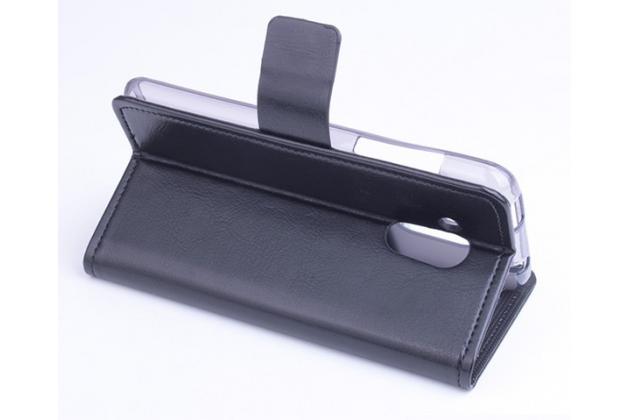 Чехол-книжка из качественной импортной кожи с мульти-подставкой застёжкой и визитницей для асер ликвид з500 дуал сим черный