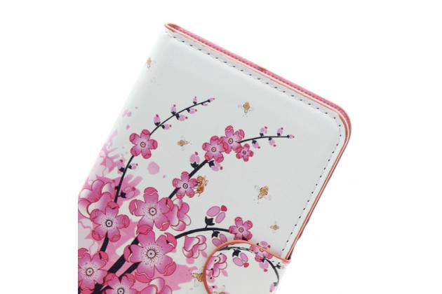 """Уникальный необычный чехол-книжка для acer liquid z220 / m220 """"тематика цветок сакуры"""""""