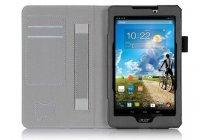 """Фирменный чехол бизнес класса для Acer Tab 7 A1-713/A1-713HD с визитницей и держателем для руки черный натуральная кожа """"Prestige"""" Италия"""