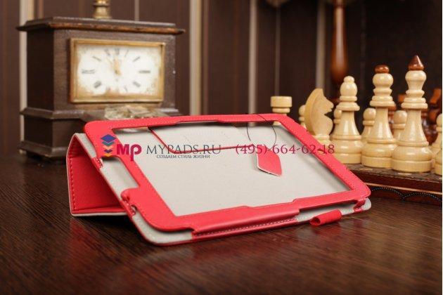 """Чехол-обложка для acer iconia tab w4 с визитницей и держателем для руки красный натуральная кожа """"prestige"""" италия"""