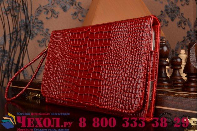 Роскошный эксклюзивный чехол-клатч/портмоне/сумочка/кошелек из лаковой кожи крокодила для планшета acer iconia one 7 b1-780. только в нашем магазине. количество ограничено.