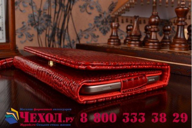 Роскошный эксклюзивный чехол-клатч/портмоне/сумочка/кошелек из лаковой кожи крокодила для планшета acer iconia tab a1-860. только в нашем магазине. количество ограничено.