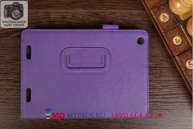 """Чехол-книжка для acer iconia tab a1-830/a1-831 с визитницей и держателем для руки фиолетовый натуральная кожа """"prestige"""" италия"""