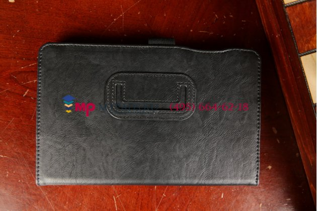 """Чехол-книжка для acer iconia tab b1-720/b1-721 с визитницей и держателем для руки черный натуральная кожа """"prestige"""" италия"""