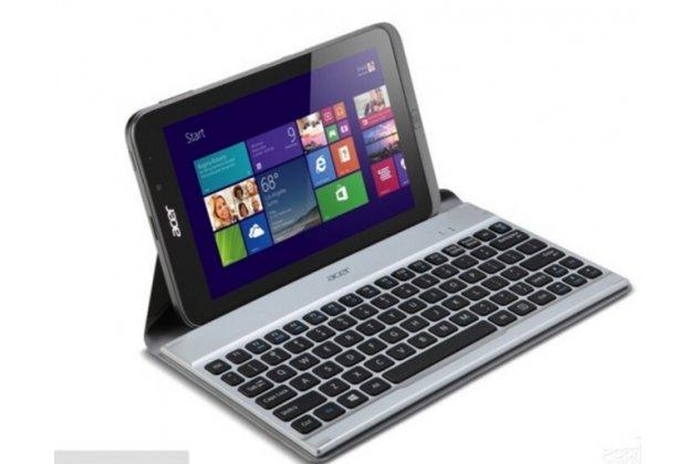Чехол со съёмной bluetooth-клавиатурой для планшета acer iconia tab w4-820/w4-821/w3-810/w3-811 черный кожаный + гарантия