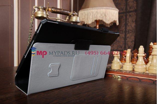 """Чехол обложка для acer aspire switch 10 (sw5-011) с визитницей и держателем для руки черный натуральная кожа """"prestige"""" италия"""