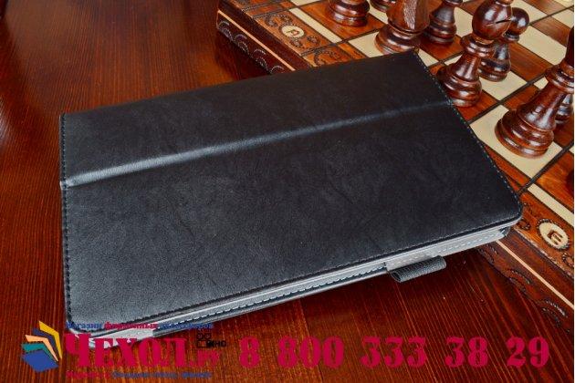 """Чехол бизнес класса для acer iconia one 8 b1-810-19lv с визитницей и держателем для руки черный натуральная кожа """"prestige"""" италия"""