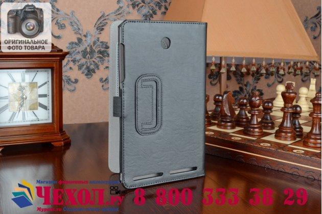 """Чехол бизнес класса для acer iconia tab 8 a1-840fhd с визитницей и держателем для руки черный натуральная кожа """"prestige"""" италия"""