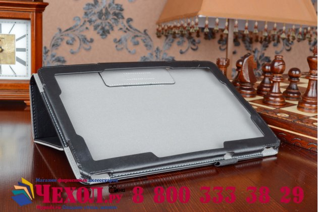 """Чехол бизнес класса для acer iconia tab a3-a10/a3-a11 с визитницей и держателем для руки черный натуральная кожа """"prestige"""" италия"""