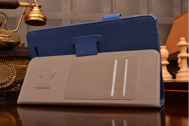 "Чехол бизнес класса для acer iconia tab w1-810 с визитницей и держателем для руки синий натуральная кожа ""prestige"" италия"