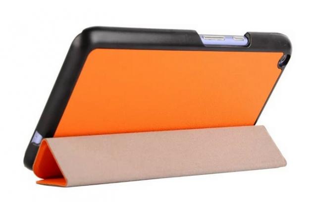 """Умный чехол-книжка самый тонкий в мире для acer iconia talk s a1-724 """"il sottile"""" оранжевый кожаный"""