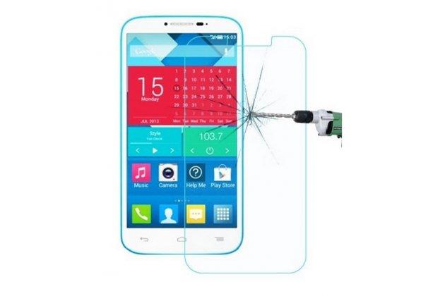 Защитное закалённое противоударное стекло премиум-класса из качественного японского материала с олеофобным покрытием для alcatel pop c9 7047d