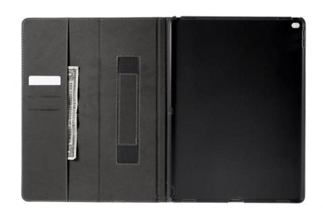 """Чехол открытого типа без рамки вокруг экрана с мульти-подставкой визитницей и держателем для руки для ipad pro 12.9"""" черный натуральная кожа """"deluxe"""" италия"""