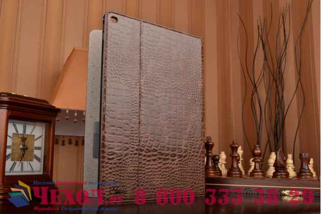 """Чехол для ipad pro 12.9"""" лаковая кожа крокодила коричневый"""