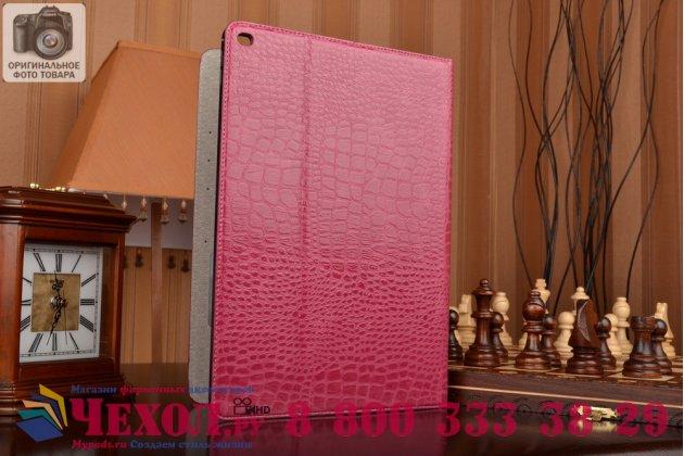 """Чехол для ipad pro 12.9"""" лаковая кожа крокодила розовый"""