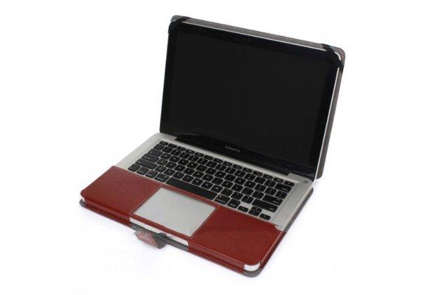 """Премиальный чехол-обложка-футляр-сумка с подставкой и вырезом под тачпад для  apple macbook air 11 early 2014 ( md711 / md712) 11.6"""" из импортной кожи коричневый"""