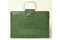 Премиальный чехол-обложка-футляр-сумка с подставкой и вырезом под тачпад для apple macbook air 11 early 2015 (mjvm2/ mjvp2) 11.6 из импортной кожи зеленый