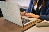 Фирменный премиальный чехол-обложка  с подставкой для Apple MacBook Pro 13 with Retina display Early 2015 ( MF839 / MF841 / MF840 / MF843) 13.3 из натуральной кожи серый