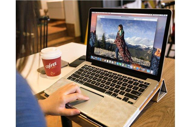 """Премиальный чехол-обложка  с подставкой для apple macbook pro 13 with retina display mid 2014 (mgx92  / mgx72  / mgx82 ) 13.3"""" из натуральной кожи серый"""