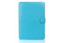 Фирменный премиальный чехол-обложка  с подставкой для Apple MacBook Pro 15 with Retina display Mid 2015 (MJLQ2  /MJLT2 / MJLU2) 15.4 из натуральной кожи голубой