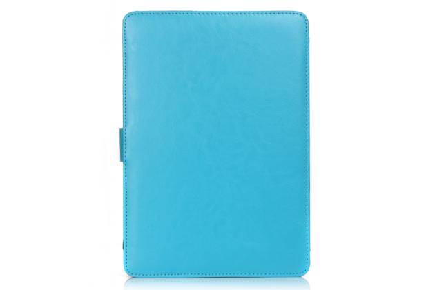 Премиальный чехол-обложка  с подставкой для apple macbook pro 15 with retina display mid 2015 (mjlq2  /mjlt2 / mjlu2) 15.4 из натуральной кожи голубой