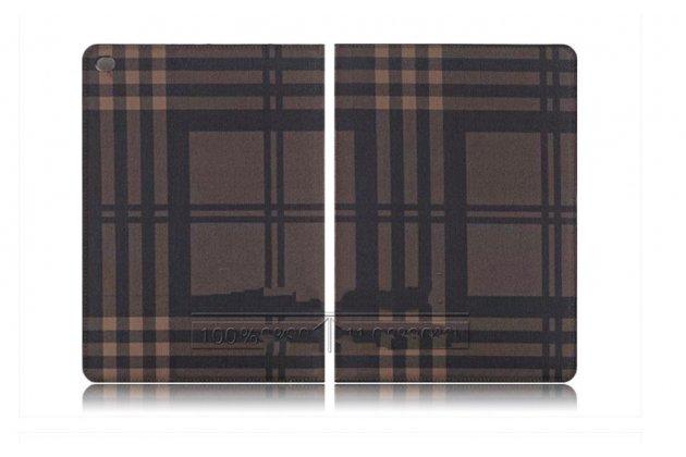 """Чехол-книжка из кожи с мульти-подставкой и застёжкой для ipad pro 12.9"""" коричневый в клетку"""