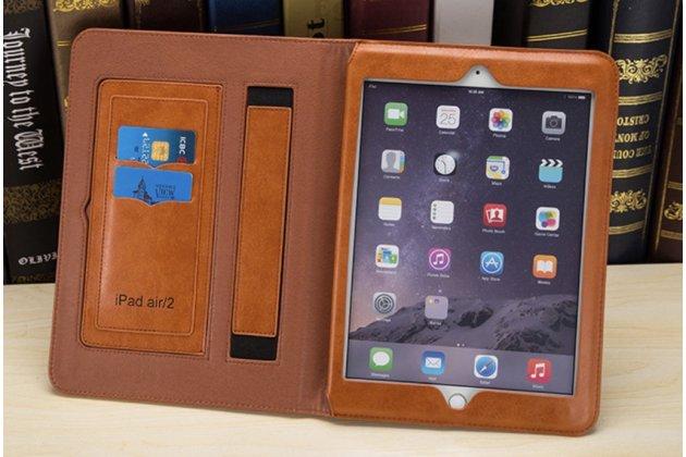 Премиальный чехол-обложка  с подставкой для ipad pro 12.9 из натуральной кожи коричневый с логотипом