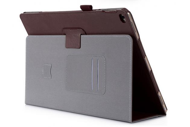 """Чехол бизнес класса для ipad pro 12.9"""" с визитницей и держателем для руки коричневый натуральная кожа """"prestige"""" италия"""