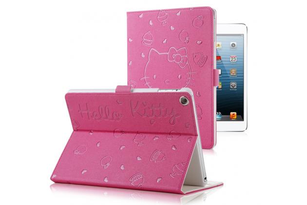 "Чехол-обложка для ipad2/3/4 тематика ""hello kitty"" розовый кожаный"