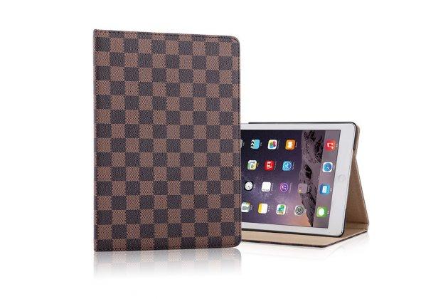 Чехол-обложка для ipad mini 2 retina/ ipad mini 3 в клетку коричневый кожаный