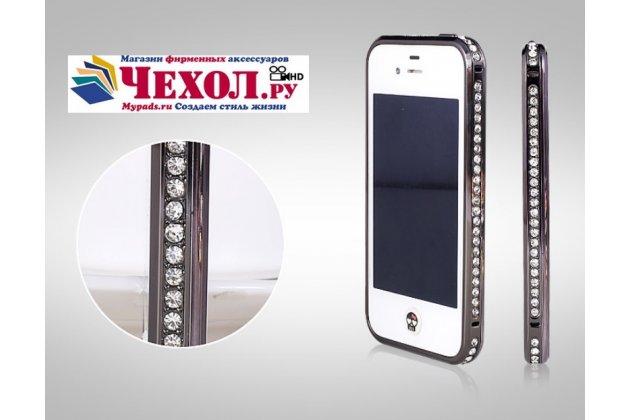 Роскошный ультра-тонкий чехол-бампер безумно красивый декорированный кристаликами для iphone 4/4s черный металлический
