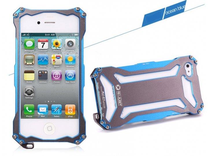 Противоударный усиленный ударопрочный чехол-бампер на металлической основе для iphone 4/4s синего цвета..