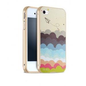 """Фирменная золотая металлическая задняя панель-крышка-накладка из тончайшего облегченного авиационного алюминия для iPhone 4/4S с объёмным 3D рисунком """"тематика все цвета Радуги"""""""