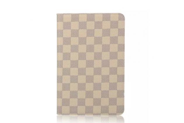 """Чехол-книжка из кожи с мульти-подставкой и застёжкой для ipad pro 9.7"""" белый в клетку"""